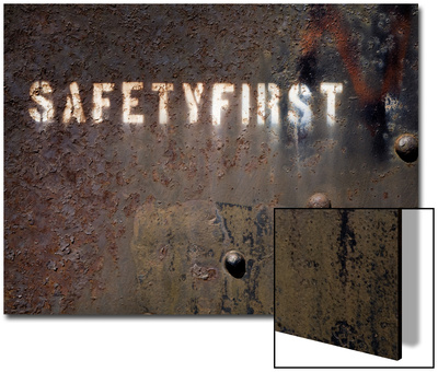 White Pine County, East Ely, Nevada Northern Railway Museum, Safety First on Side of Rail Stock Print by Deon Reynolds