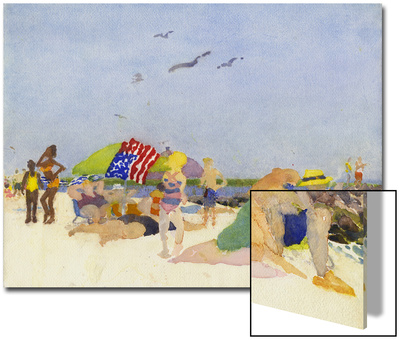 Watercolor Painting of a Beach Scene Art by Steve Singer
