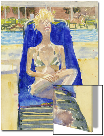 Watercolor Painting of a Woman Lounging on Outdoors on a Beach Chair Prints by Steve Singer