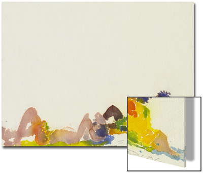 Watercolor Painting of Sunbathers on the Beach Posters by Steve Singer