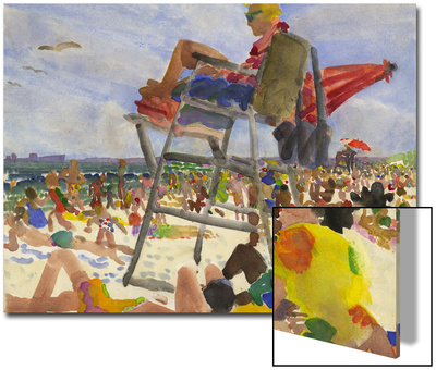 Watercolor Painting of a Beach Scene with Lifeguard Poster by Steve Singer