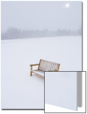 Wooden Bench in a Snow Storm Posters by John Churchman
