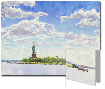 Watercolor Painting of a View of New York City Including the Statue of Liberty Prints by Steve Singer