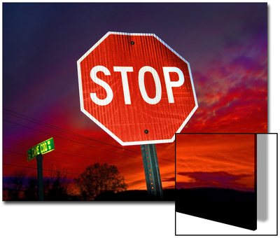 Stop Sign with an Intense Red Sunset in the Backround Art by John Churchman