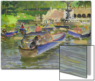 Watercolor Painting of Boats on in the Water at Central Park in New York City Poster by Steve Singer