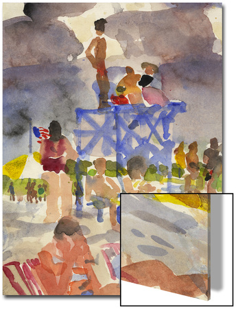 Watercolor Painting of a Beach Scene and Lifeguards Prints by Steve Singer