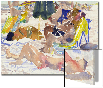 Watercolor Painting of a Beach Scene and Sunbathers Print by Steve Singer