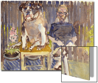Watercolor Painting of a Man and Dog Sitting Art by Steve Singer
