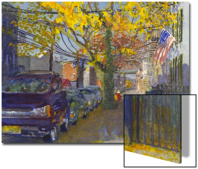 Watercolor Painting of a Neighborhood Street Scene Prints by Steve Singer