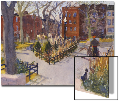 Watercolor Painting of a Park Scene Prints by Steve Singer