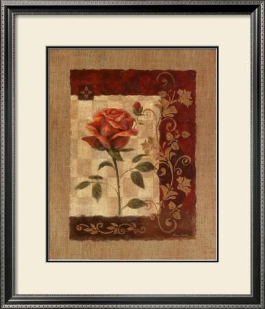 Burlap Tea Rose Print by Vivian Flasch