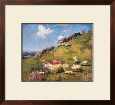 Sheep on a Hillside Posters by Sir William Llewellyn