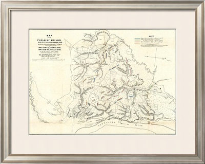 Civil War Map of the Field of Shiloh, Near Pittsburgh Landing, Tennessee, c.1862 Framed Giclee Print by Otto H. Matz
