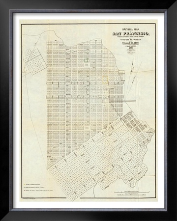 Official Map of San Francisco, c.1851 Framed Giclee Print by William Carey Jones