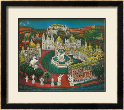 The Residenz-Fountain at Salzburg Prints by Gottfried Kumpf