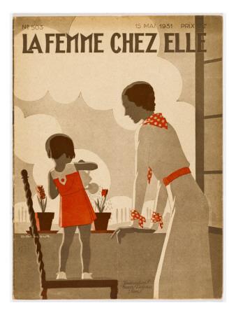 Girl and Mama Water Pots Giclee Print