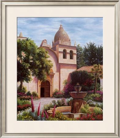 Carmel Mission Fountain Print by Barbara R. Felisky
