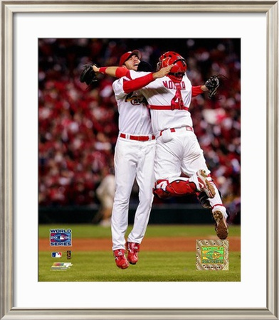 Adam Wainwright And Yadier Molina Framed Photographic Print