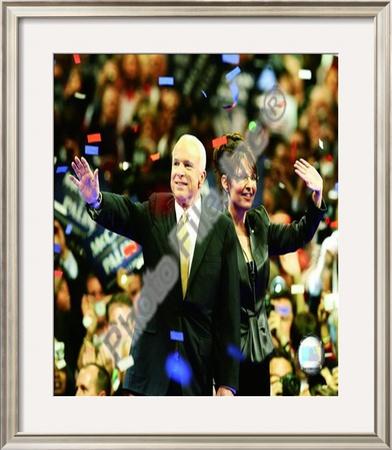 U.S. Sen. John McCain with Republican U.S vice-presidential nominee Alaska Gov. Sarah Palin Framed Photographic Print
