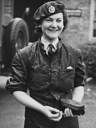 A Wet Waaf Woman Who Was Cleaning a Lorry During World War Ii Photographic Print