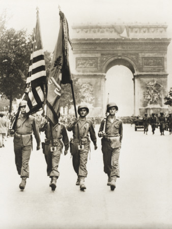 American Flags in the Champs Elysees Photographic Print