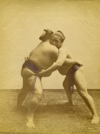 Two Japanese Sumo Wrestlers Photographic Print