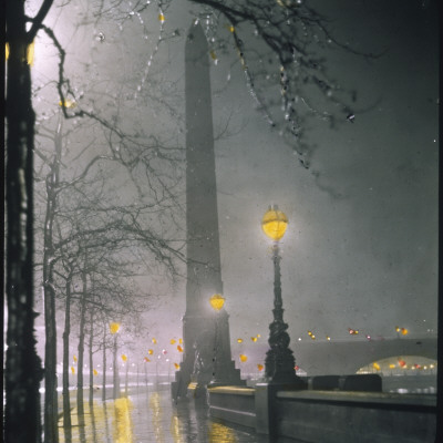 Cleopatra's Needle on the Embankment by Night Photographic Print