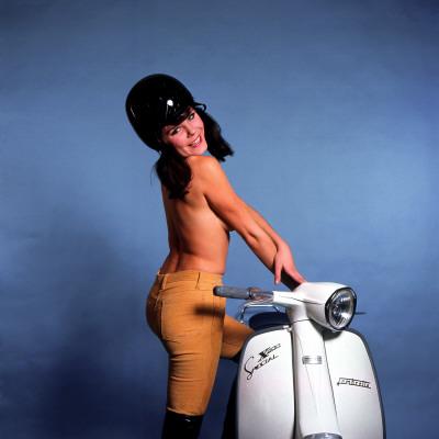 Female Model with Lambretta 1960s Photographic Print