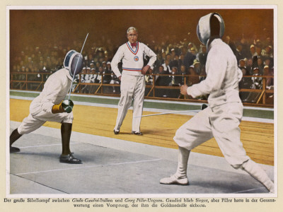 Fencing: Piller (Hungary) Defeats Gaudini (Italy) in Sabres Photographic Print
