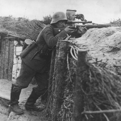 German Sniper in a Trench on the Western Front During World War I Photographic Print by Robert Hunt