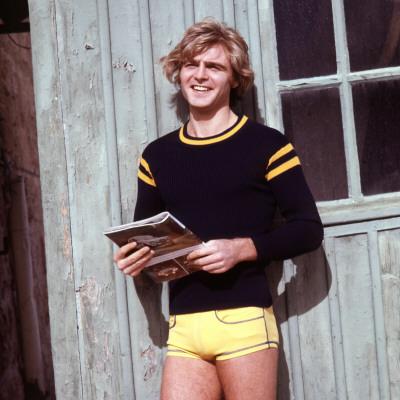 Retro Male Fashion Model 1970s, Yellow Shorts, Posing, Kitsch Photographic Print