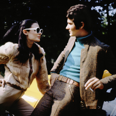 Retro Fashion Models 1970s, Couple, Coules, Fur, Brown Jacket Photographic Print
