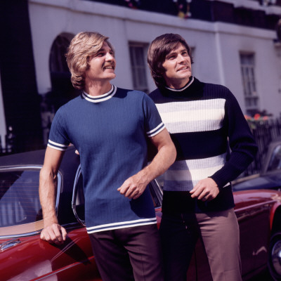 1970s Fashion Models on Retro 1970s Male Fashion Models  Matching  Knitwear Photographic Print