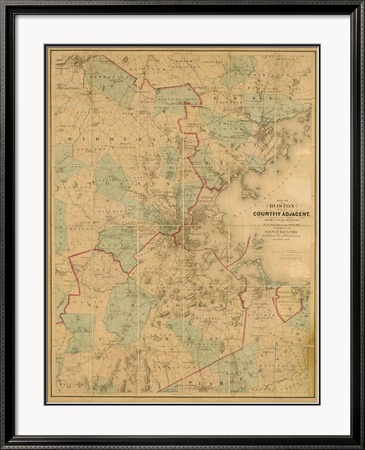 Map of Boston, c.1860 Framed Giclee Print