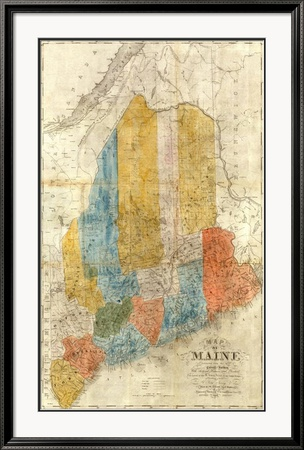 Map of Maine, c.1843 Framed Giclee Print
