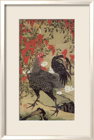 Japanese Rooster with Two Birds Framed Giclee Print