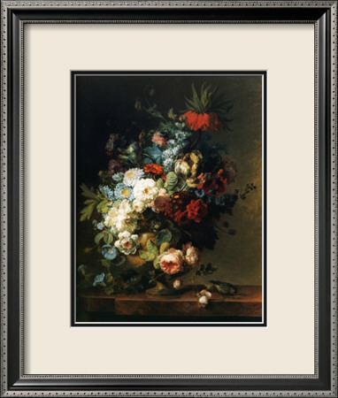 Still Life with Flowers, 1789 Lámina enmarcada