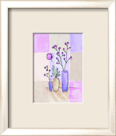Floral with Modern Vases Framed Art Print