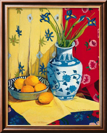Irises in an Oriental Vase II Framed Art Print