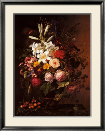 Flowers and Cherries Framed Art Print