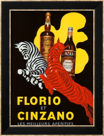 Florio et Cinzano Apertifs Framed Giclee Print