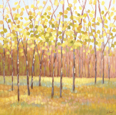Yellow and Green Trees (center) Impresso artstica