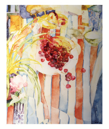 Cherries on White Plate Prints by Shirley Trevena