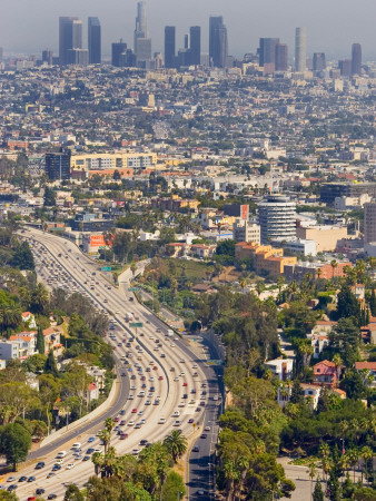 View over Hollywood and Downtown Los Angeles Photographic Print by Geoffrey George