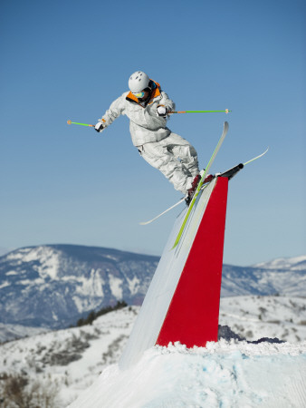 Terrain Park Skiing Tricks Photographic Print by John Kelly