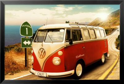Californian Camper Lamina Framed Poster