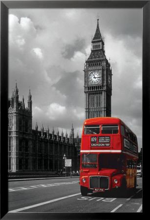 Kırmızı Londra Otobüsü Lamine Çerçeveli Poster