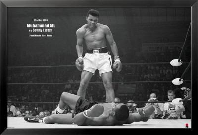Muhammad Ali mod Sonny Liston Lamina Framed Poster