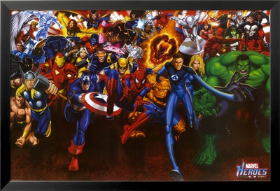 Marvel Heroes Lamina Framed Poster