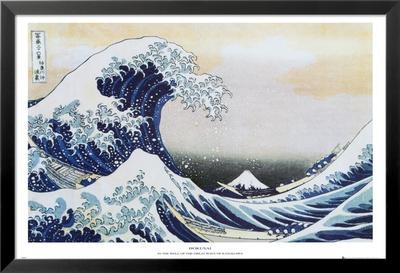 The great wave at kanagawa c 1829 laminovaný a zarámovaný plakát